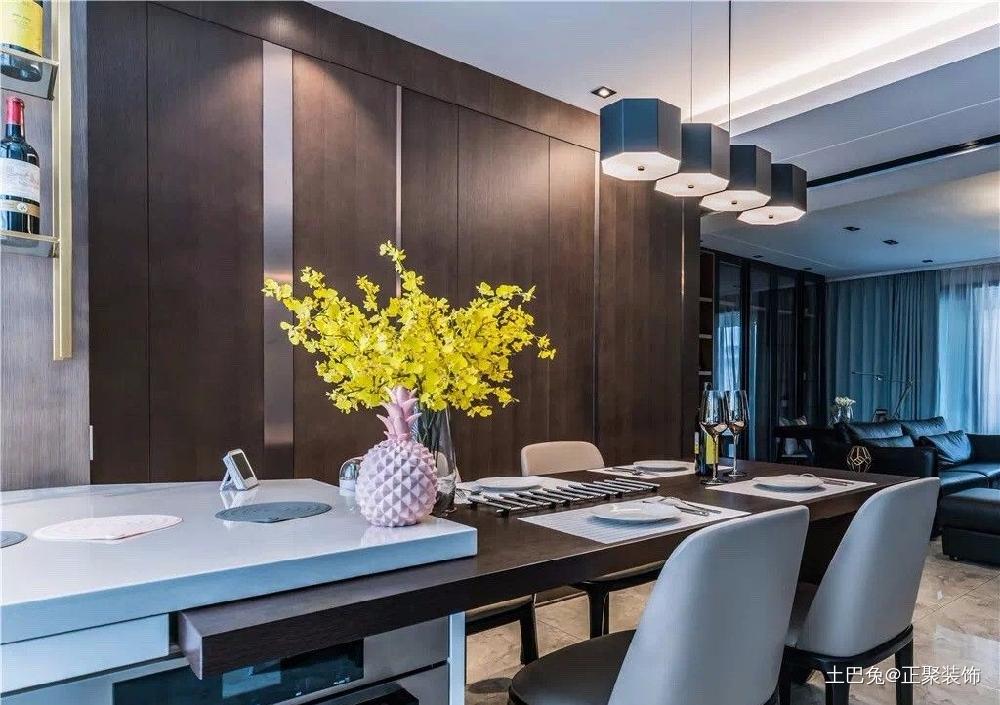 125㎡三居室简约写意舒适的小资厨房窗帘现代简约餐厅设计图片赏析