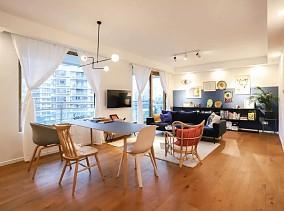 104㎡两室两厅彩墙撞色、挂满插画厨房欧式豪华设计图片赏析