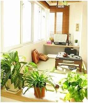 78平的原木小户型二居室阳台现代简约设计图片赏析