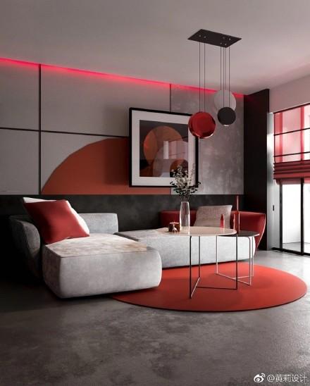 现代风格热情色搭配大胆创新客厅