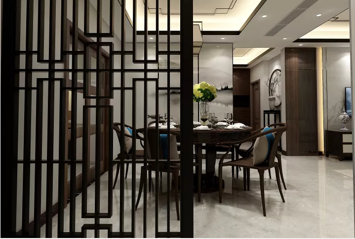 115平新中式、背景墙、电视柜、家具