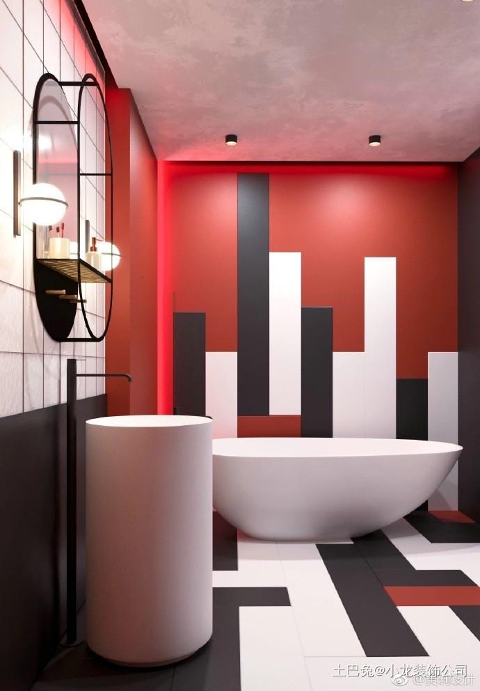 现代风格热情色搭配大胆创新卫生间浴缸其他卫生间设计图片赏析