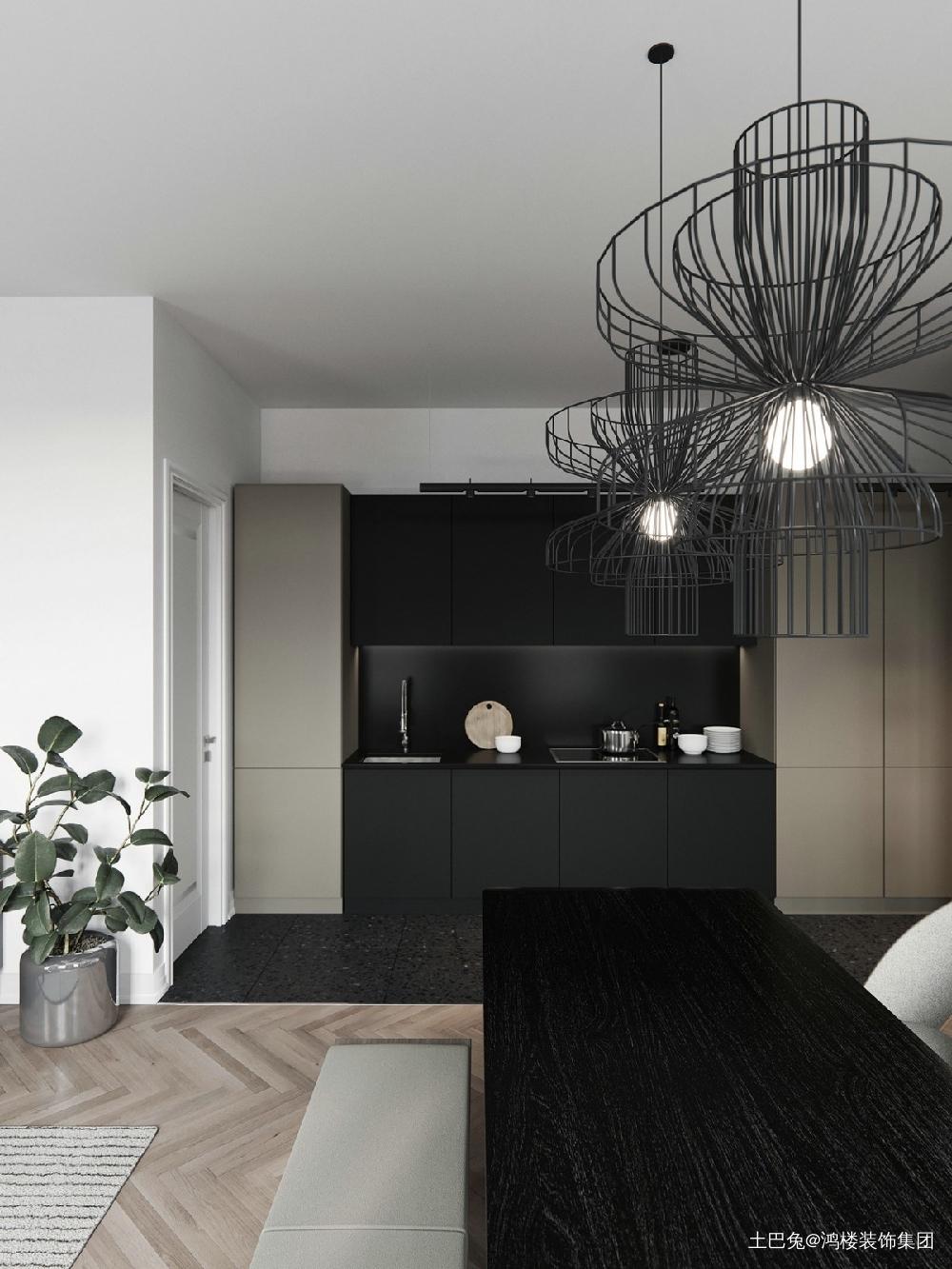 #4北欧风格精致的单身公寓厨房北欧极简餐厅设计图片赏析