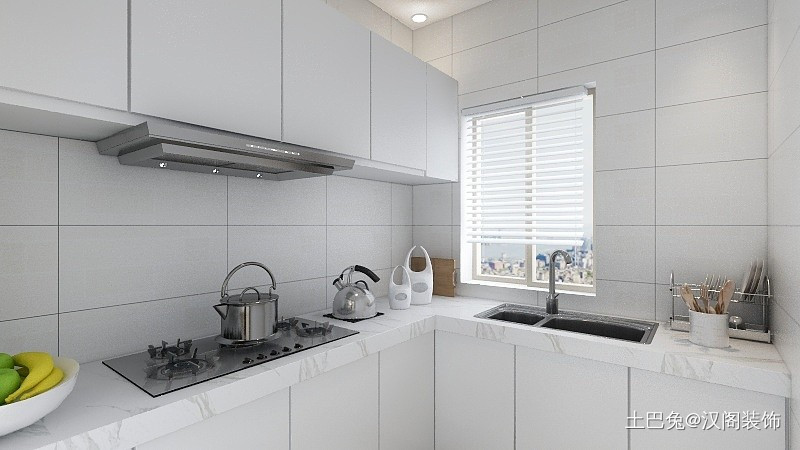天成花园68平新中式风格餐厅橱柜中式现代厨房设计图片赏析