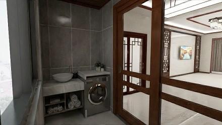 现代新中式130㎡三居室阳台