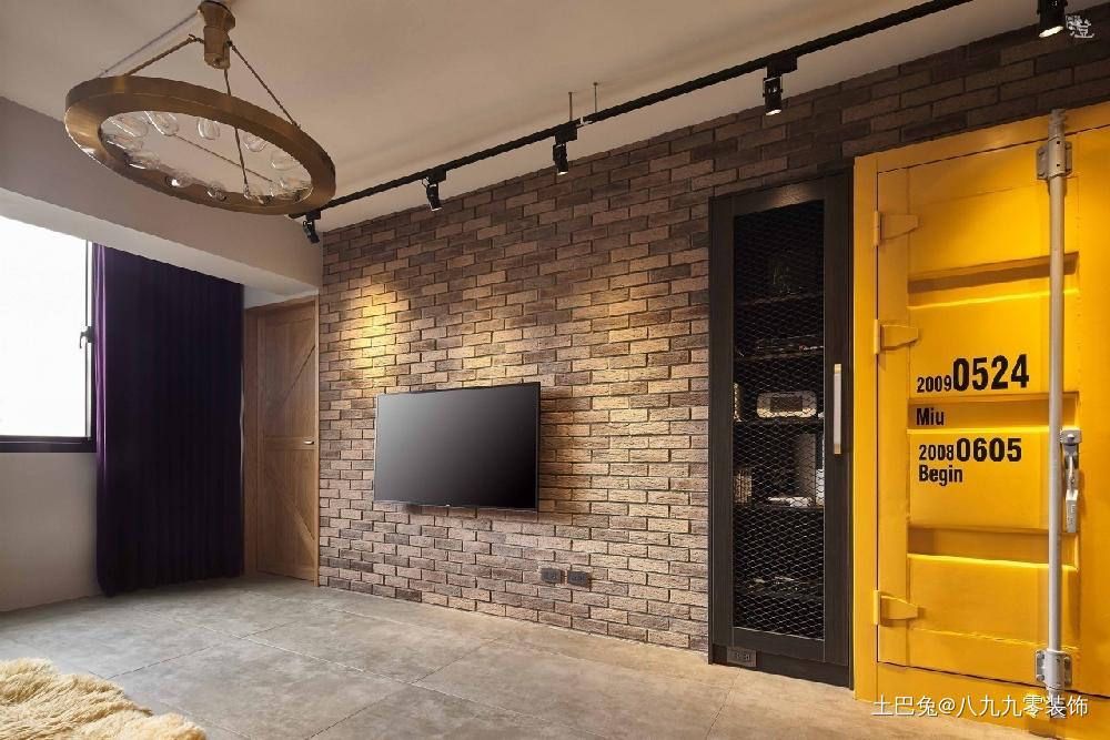 35平工业风装出你的个性客厅背景墙现代简约客厅设计图片赏析