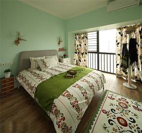 110平的田园风~从容淡雅的家卧室美式田园设计图片赏析