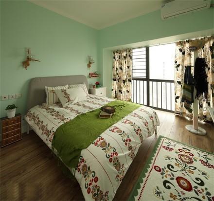 110平的田园风~从容淡雅的家卧室