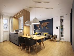 黑色酷客60㎡北欧极简风厨房北欧极简设计图片赏析
