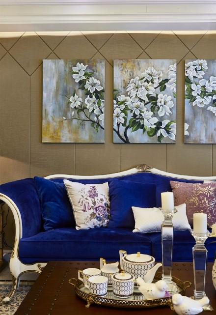 蓝色贵族欧式样板间客厅1图