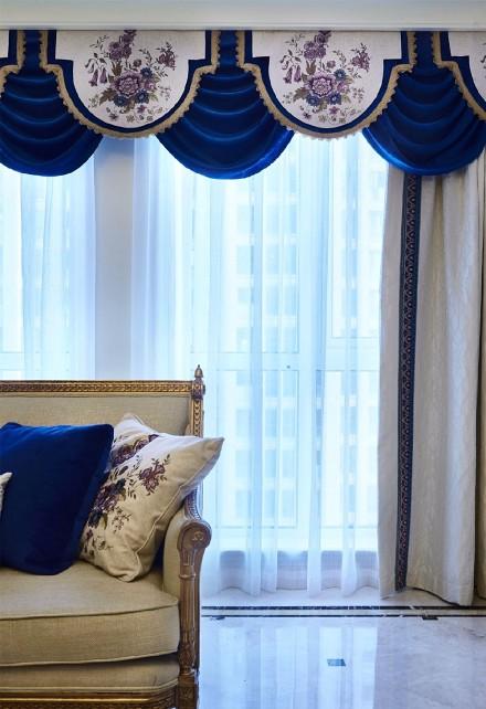 蓝色贵族欧式样板间客厅2图