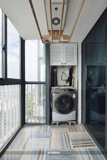 120m²现代美式,蓝色的空间清新优雅阳台