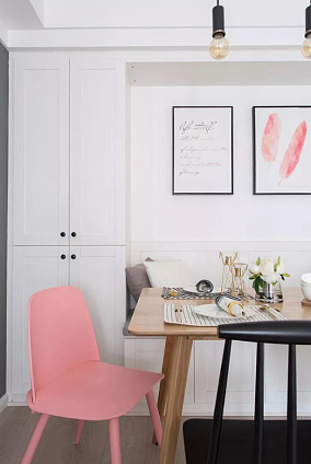 北欧格调,卡座餐厅文艺有情调厨房北欧极简设计图片赏析