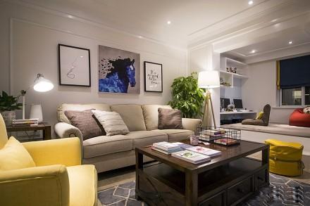 85平现代混搭二居室客厅