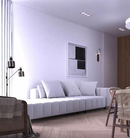 80㎡轻奢小宅现代设计,生活也要活出品质客厅