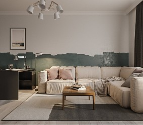 70平一室两厅一厨一卫北欧风小户型大空间11015286