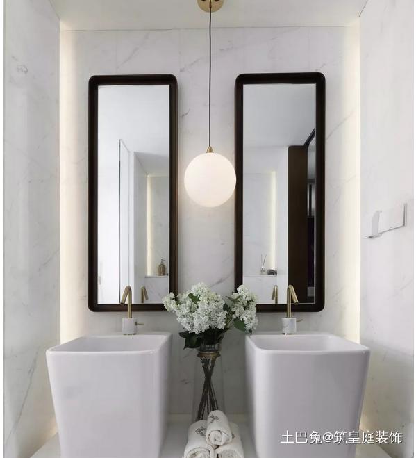 135平方现代中式风格带点复古的感觉卫生间洗漱台中式现代卫生间设计图片赏析