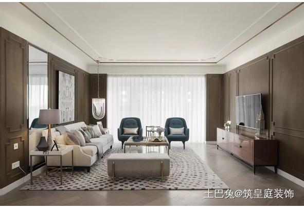 135平方现代中式风格带点复古的感觉客厅中式现代客厅设计图片赏析