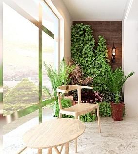 中海锦城三室90㎡的新中式风格阳台中式现代设计图片赏析
