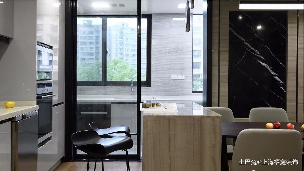 时尚质感简约大平层阳台改厨房扩大餐厅厨房现代简约餐厅设计图片赏析