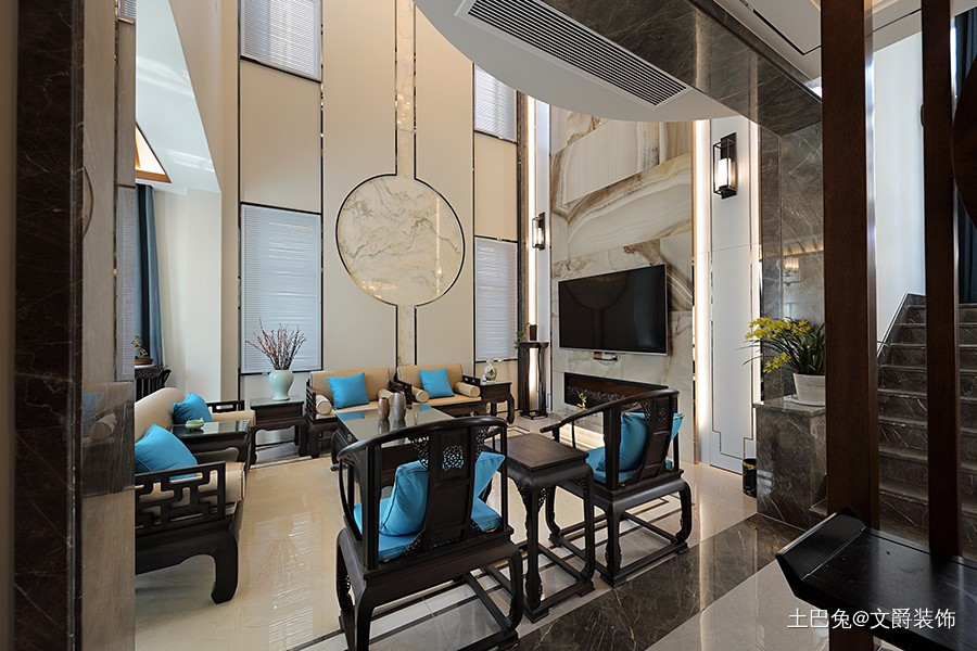 精彩绝伦的新中式混搭美式风格客厅中式现代客厅设计图片赏析