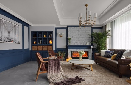 这样的家灰色的高雅包容,蓝色的平和深邃客厅1图