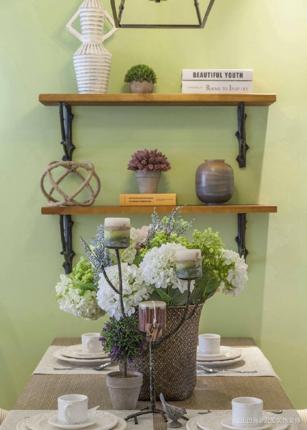 125平方三居田园风格清新自然厨房美式田园餐厅设计图片赏析