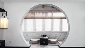 120㎡新中式风格,龙湖滟澜海岸阳台中式现代设计图片赏析