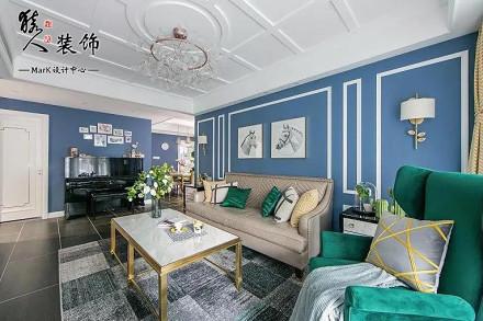 96平美式三居室,优雅奢侈风客厅