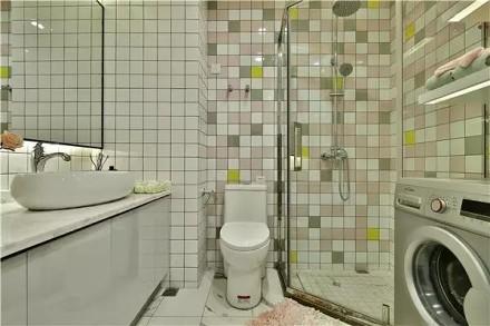 50平方现代风格,长条形的单身公寓卫生间