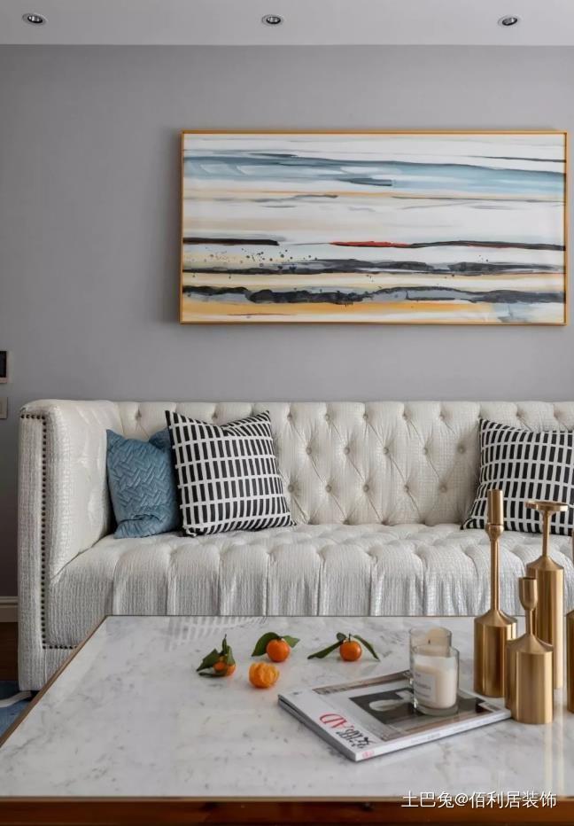 135㎡美式简约风格打造清新自然三居室客厅现代简约客厅设计图片赏析