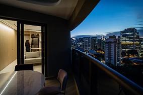 42㎡简约公寓,条木隔墙太温馨了!阳台现代简约设计图片赏析
