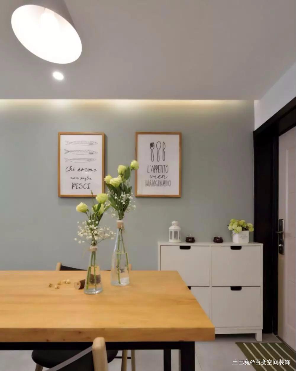 36平老破小塞下3室2厅三分离卫生间厨房北欧极简餐厅设计图片赏析