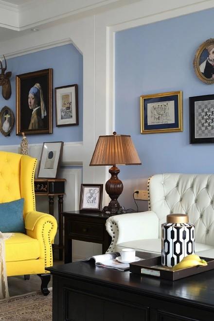 180m²蓝色调美式住宅,明快开阔!客厅