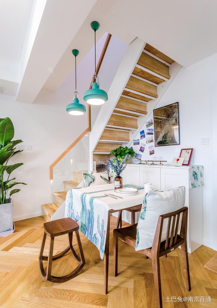 80㎡二层公寓一个人也要精致生活~厨房北欧极简餐厅设计图片赏析