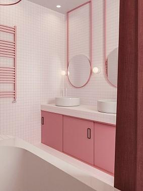 300㎡弥漫着幸福又甜蜜的马卡龙卫生间潮流混搭设计图片赏析