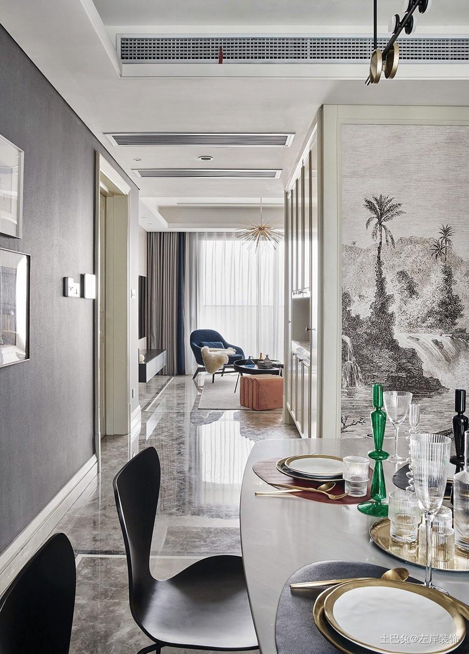 118平方混搭风格设计深色调功能区沙发潮流混搭功能区设计图片赏析