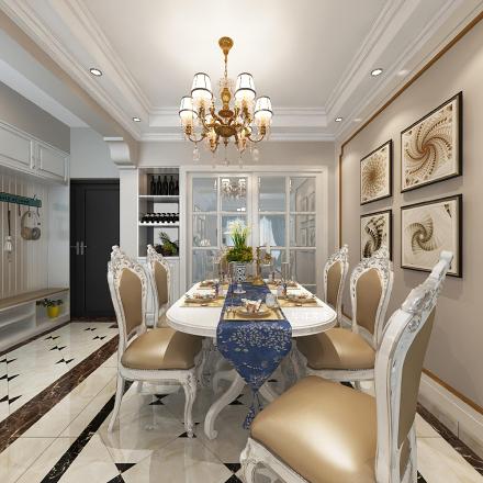 富丽堂皇,金碧辉煌104㎡的欧式风格厨房
