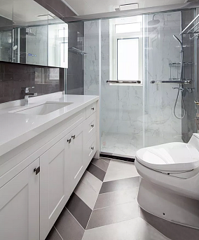 优雅美式3室2厅,享受繁华都市的宁静生活卫生间美式田园设计图片赏析