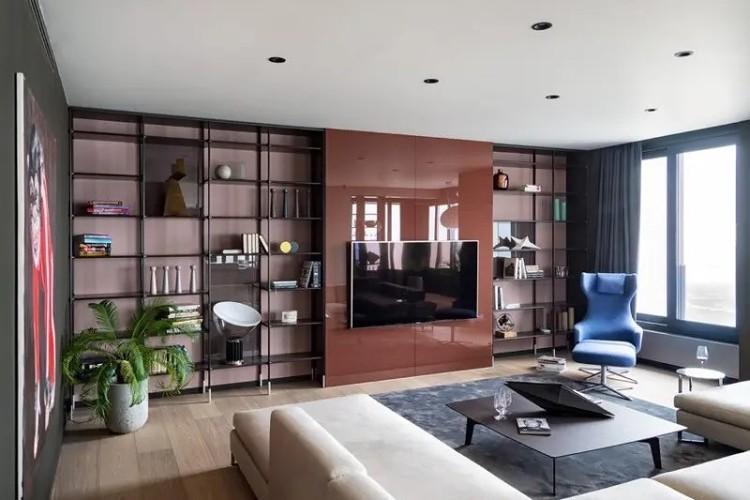 电视墙和书架连一体,空间不浪费!