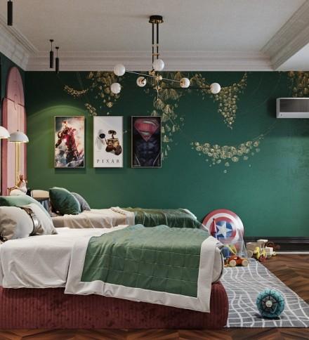 混搭+120平方+3居室卧室