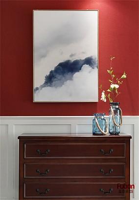 103㎡美式风正气砖红色客厅美式经典设计图片赏析