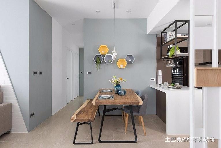 现代简约白色清新单身公寓厨房现代简约餐厅设计图片赏析