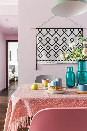 70㎡粉色北欧风,温馨又浪漫!厨房北欧极简设计图片赏析