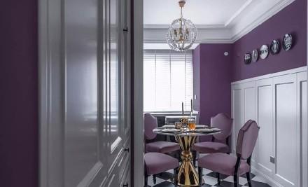 95㎡优雅紫色系轻奢简美厨房