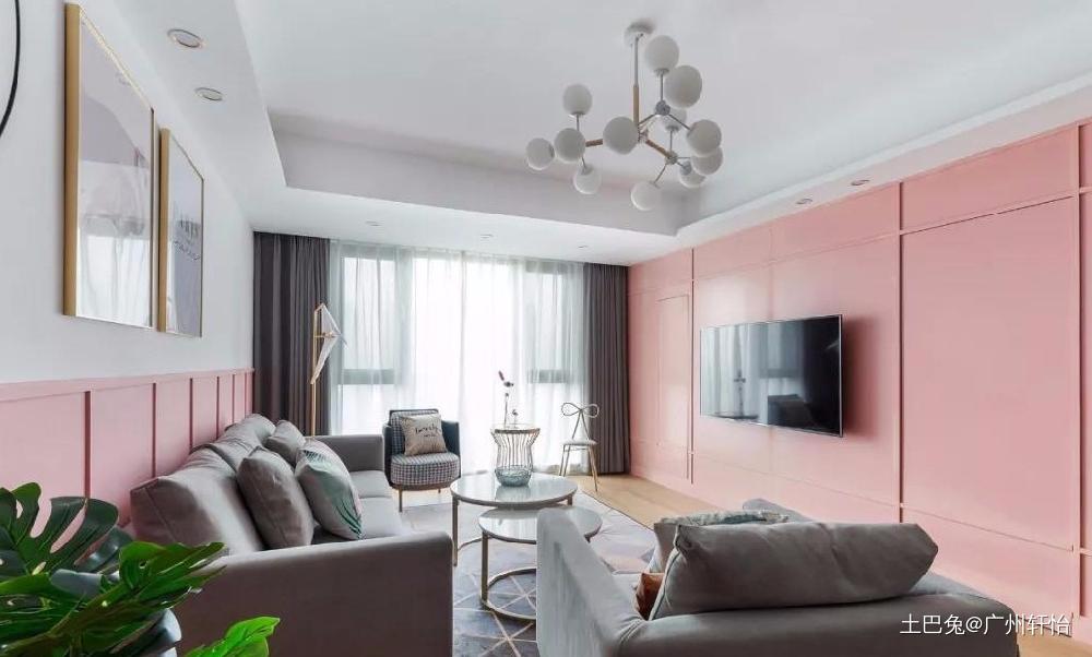 110㎡金粉北欧温馨小情调客厅窗帘现代简约客厅设计图片赏析
