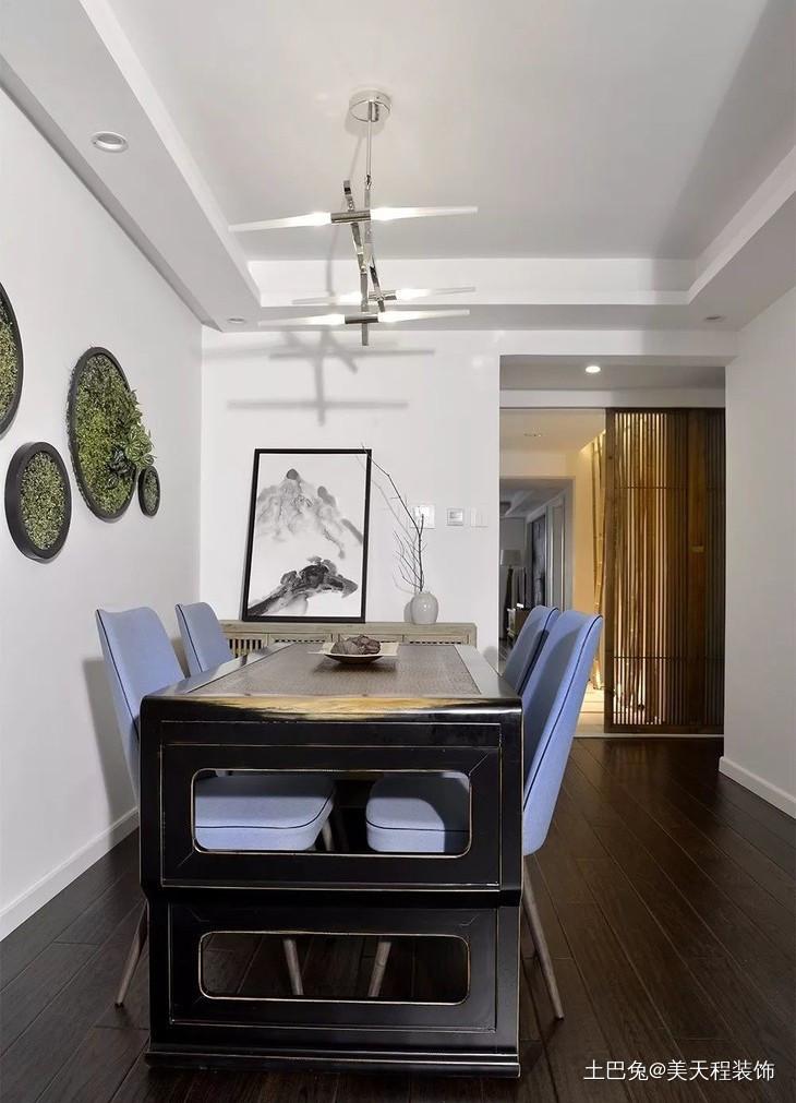 120平中式混搭美式厨房中式现代餐厅设计图片赏析