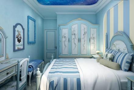 地中海.田园风3室2厅1卫1厨卧室1图