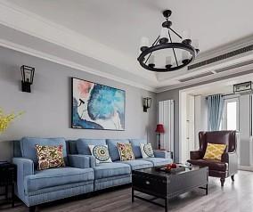 美式三居室117平米14万客厅1图美式田园设计图片赏析