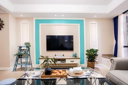 知更鸟上的蒂芙尼蓝120m²美式田园客厅